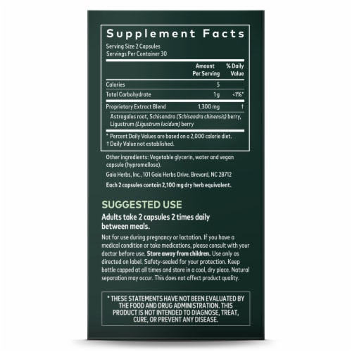 Gaia Herbs Daily Wellness Astragalus Supreme Dietary Supplement Perspective: right