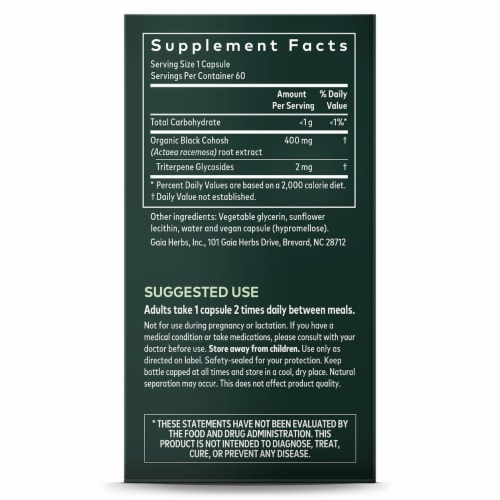 Gaia Herbs Single Herbs Black Cohosh Dietary Supplement Perspective: right