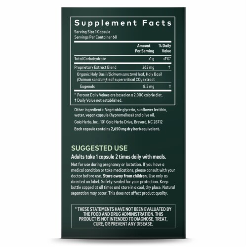Gaia Herbs® Holy Basil Leaf Supplement Perspective: right