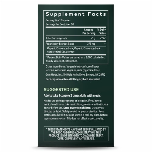 Gaia Herbs Cinnamon Bark Herbal Supplement Perspective: right