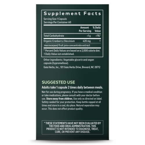 Gaia Herbs Single Herbs Cranberry Concentrate Dietary Supplement Perspective: right