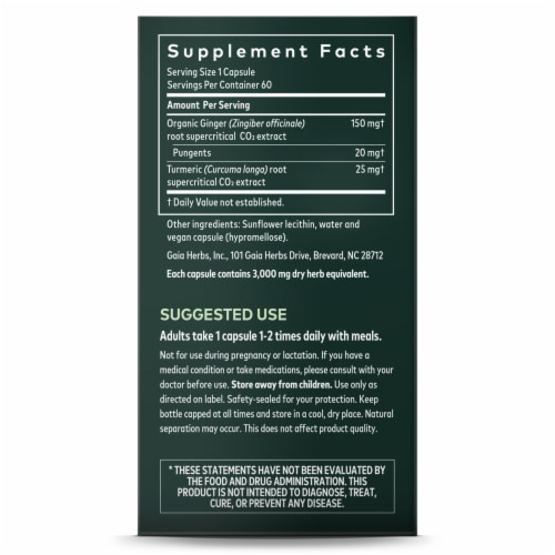 Gaia® Herbs DailyWellness Ginger Supreme Dietary Supplement Perspective: right