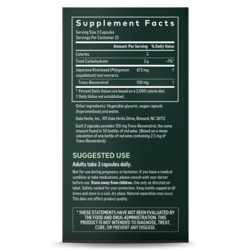 Gaia Herbs Reseratrol 150 Vegan Herbal Supplement Perspective: right