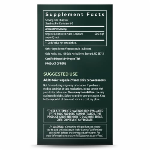 Gaia Herbs Maca Root Dietary Supplement Perspective: right