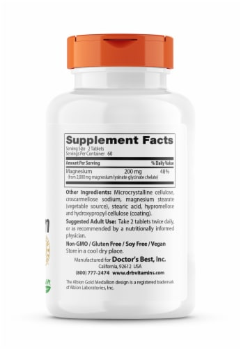Doctor's Best High Absorption 100% Chelated Magnesium Tablets 100mg Perspective: right