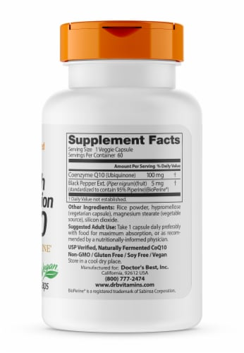 Doctor's Best High Absorption CoQ10 with BioPerine Vegetarian Capsules 100mg Perspective: right
