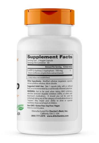 Doctor's Best 5-HTP Veggie Capsules 100mg Perspective: right