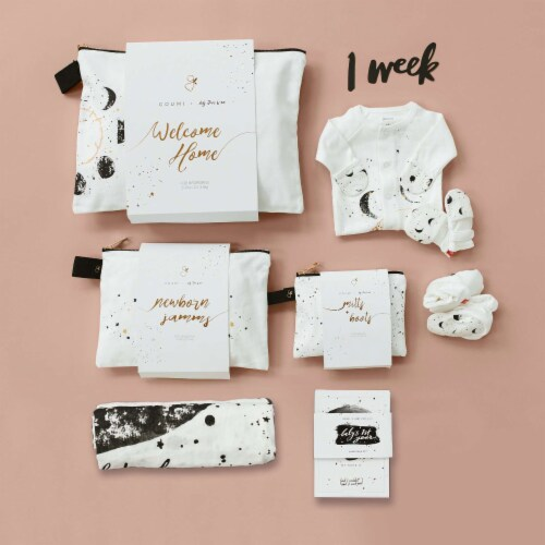 Goumikids Organic Baby Welcome Home Outfits Accessories Bundle, 0-3M Many Moons Perspective: right