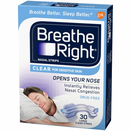 Breathe Right Large Clear Nasal Strips Perspective: right