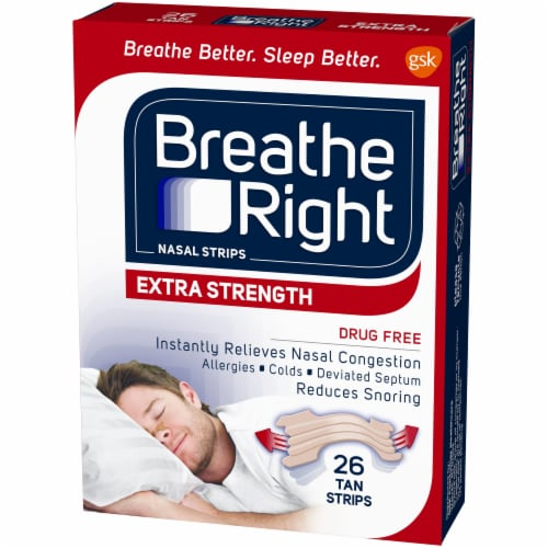 Breathe Right Extra Strength Tan Nasal Strips Perspective: right