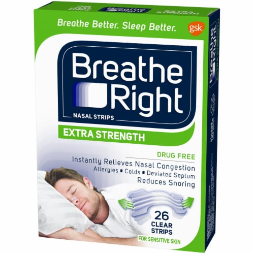 Breathe Right Extra Strength Drug-Free Clear Nasal Strips Perspective: right