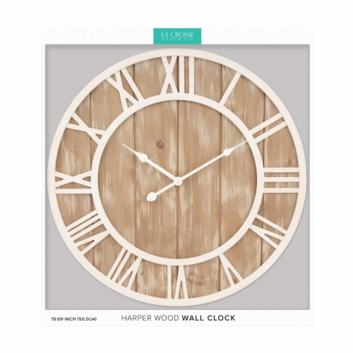 La Crosse Technology Wood Wall Clock - Off White Perspective: right