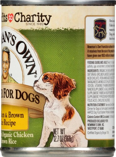 Newman's Own Chicken & Brown Rice Premium Wet Dog Food Perspective: right