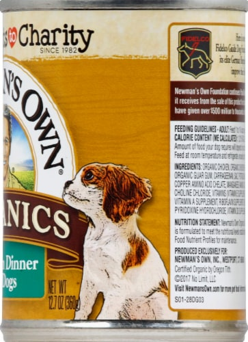 Newman's Own Organics Grain Free Chicken Dinner Premium Wet Dog Food Perspective: right