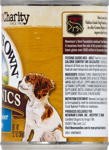 Newman's Own Organic Grain Free Turkey Dinner for Dogs Wet Dog Food Perspective: right