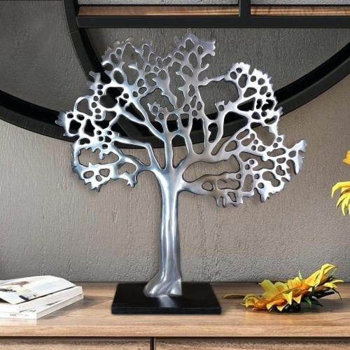 Stylish Aluminum Tree Decor with Block Base, Silver and Black ,Saltoro Sherpi Perspective: right