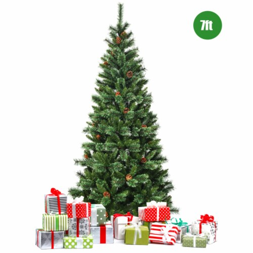 Gymax 7Ft Christmas Tree Artificial Hinged Tree w/ Pine Cones Metal Stand Perspective: right