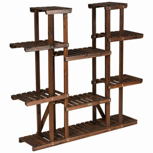 Gymax 9 Tier Wood Plant Stand 45'' High Carbonized 17 Potted Flower Shelf Rack Holder Perspective: right