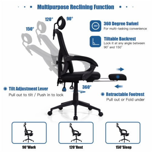 Gymax High Back Office Recliner Chair Adjustable Headrest w/ Footrest & Lumbar Pillow Perspective: right