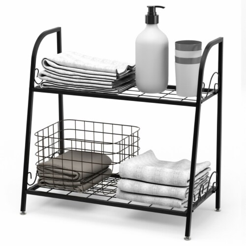 Gymax 2-tier Metal Plant Stand Shelf Flower Pot Holder Display Rack Shoe Organizer Perspective: right