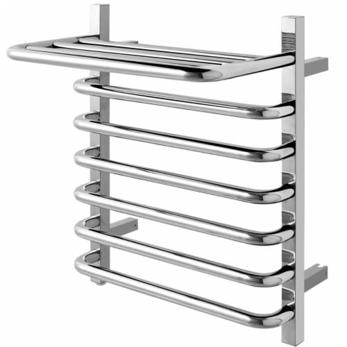 Gymax 10-Bar Wall Mounted Towel Warmer Stainless Steel Plug-in Towel Rack w/ Top Shelf Perspective: right