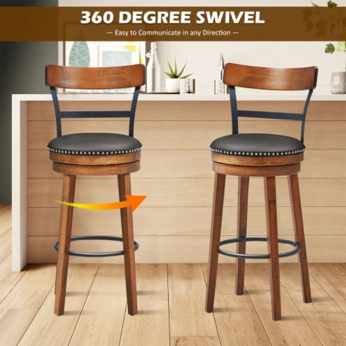 Gymax 30.5'' BarStool Swivel Pub Height kitchen Dining Bar Chair with Rubber Wood Legs Perspective: right