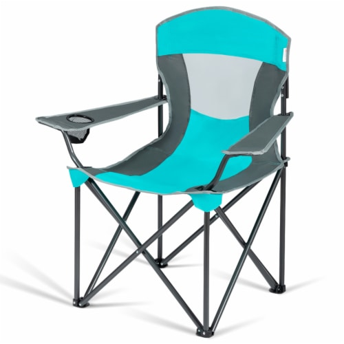 Gymax Folding Sunshade Chair Camping Chair Outdoor w/ Canopy Carrying Bag Turquoise Perspective: right