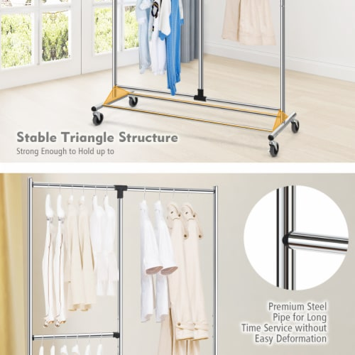 Gymax Heavy Duty Dual Bar Adjustable Garment Rack Rolling Clothes Organizer On Wheels Perspective: right