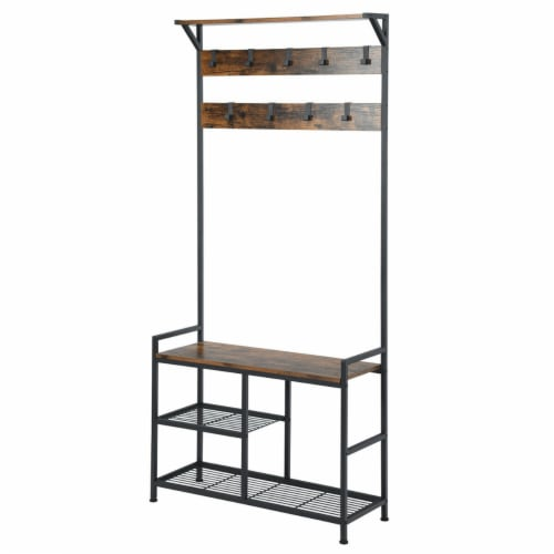Gymax 3-In-1 Industrial Coat Rack Shoe Bench Entryway Hall Tree w/Storage Shelf & 9 Hook Perspective: right