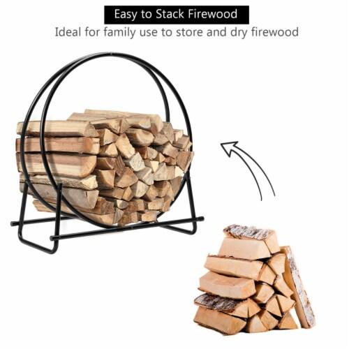 Gymax 30'' Tubular Steel Log Hoop Firewood Storage Rack Holder Round Display Perspective: right