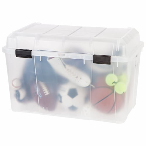 IRIS USA 138 Quart Utility Storage Trunk with Secure Hinged Lid, Clear (3 Pack) Perspective: right