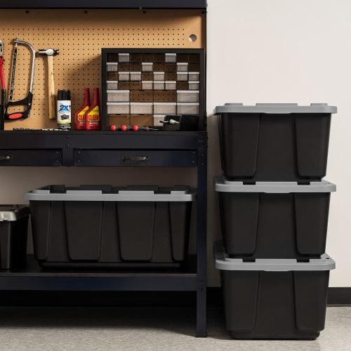 IRIS USA 27 Gallon Stackable Utility Storage Tote with Secure Lid Black (2 Pack) Perspective: right