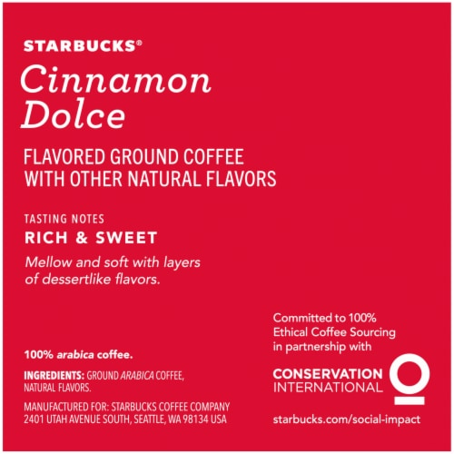 Starbucks Cinnamon Dolce Flavored Ground Coffee K-Cup Pods 10 Count Perspective: right