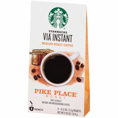 Starbucks Via Instant Pike Place Medium Roast Instant Coffee Packets 8 Count Perspective: right