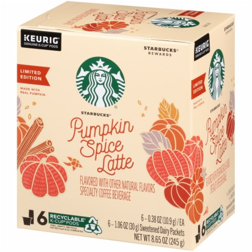 Starbucks Pumpkin Spice Latte K-Cup Pods with Sweetened Dairy Packets Perspective: right