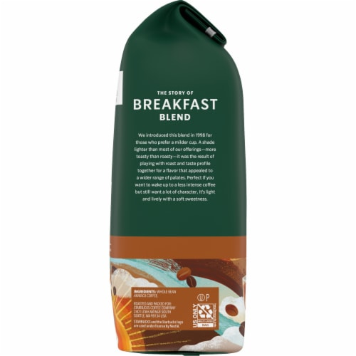 Starbucks Breakfast Blend Medium Roast Whole Bean Coffee Perspective: right