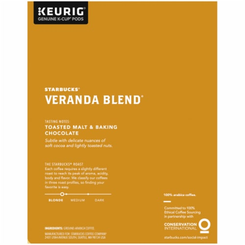 Starbucks Veranda Blend Blonde Roast K-Cup Coffee Pods Perspective: right