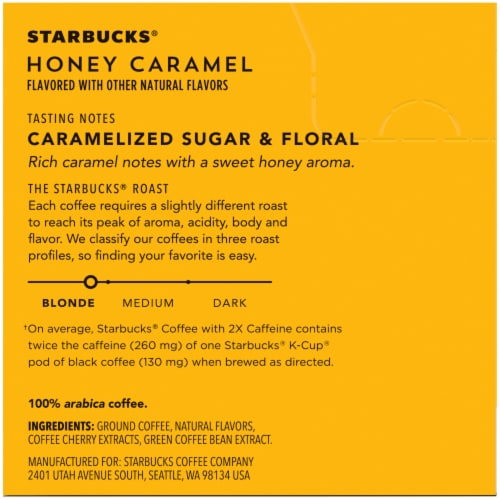 Starbucks Plus Honey Caramel Flavored Coffee K-Cup Pods Perspective: right