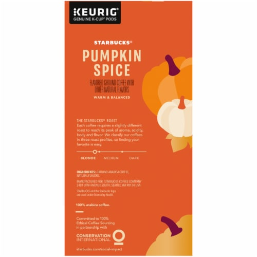 Starbucks® Pumpkin Spice Flavored Ground Coffee K-Cup Pods Perspective: right