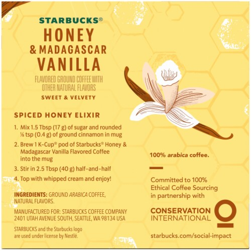 Starbucks Honey & Madagascar Vanilla Flavored Ground Coffee K-Cup® Pods Perspective: right