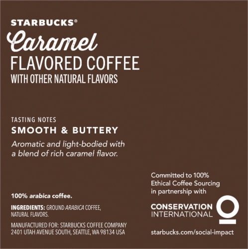 Starbucks Caramel Flavored Ground Coffee K-Cup Pods Perspective: right