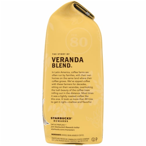 Starbucks Veranda Blend Blonde Roast Whole Bean Coffee Perspective: right