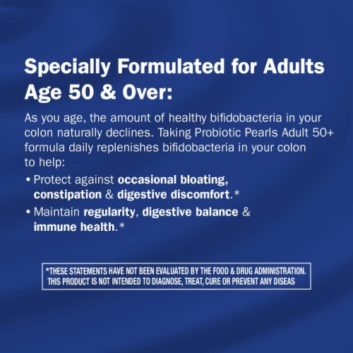 Enzymatic Therapy Probiotic Pearls Adult 50+ Digestive & Colon Support Softgels Perspective: right