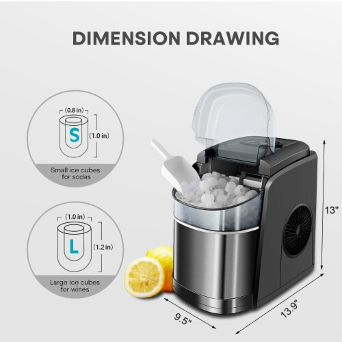 Kumo Portable Ice Maker Countertop - 9 Ice Cubes Ready in 6 Min Electric Ice Making Machine Perspective: right
