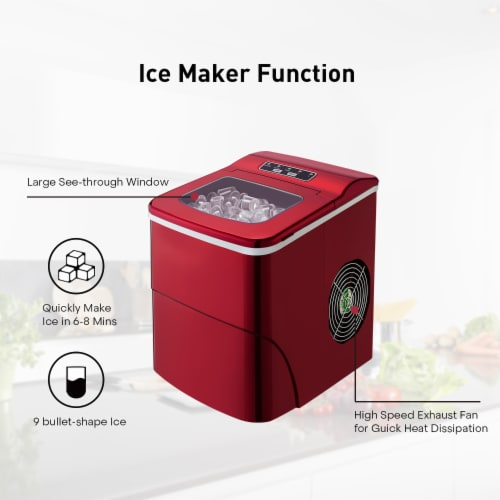 Kumo Countertop Portable Ice Maker Machine 9 Ice Cubes Ready in 6 Mins Makes 26 lbs Ice/24h Perspective: right