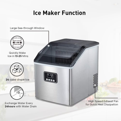 Kumo Portable Ice Maker Machine Countertop Makes 40 lbs Ice in 24 hrs Home Ice Making Machine Perspective: right