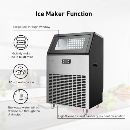 Kumo Commercial Ice Maker Freestanding Makes 200 lbs Ice in 24 hrs Business Ice Machine Perspective: right