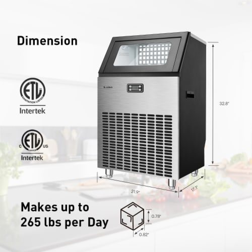 Kumo Commercial Ice Maker Freestanding Makes 265 lbs Ice in 24 hrs Perspective: right