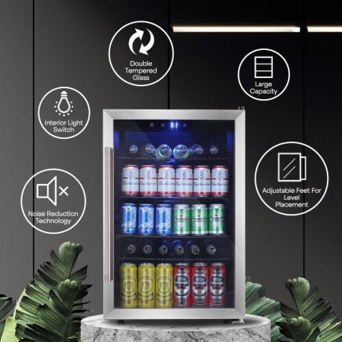 Beverage refrigerator or Wine Cooler with Glass Door 120 Can Mini Fridge freestanding Perspective: right
