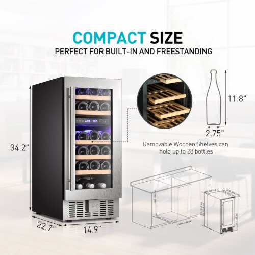 Kumo 15'' Wine Cooler 28 Bottle Built-in or Freestanding Beverage Refrigerator Perspective: right